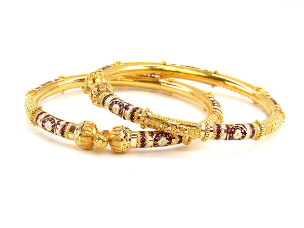 41.20g 22Kt Gold Pipe Bangle Set (Sz: 5)