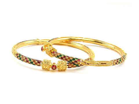 24.40g 22Kt Gold Pipe Bangle Set (Sz: 5)