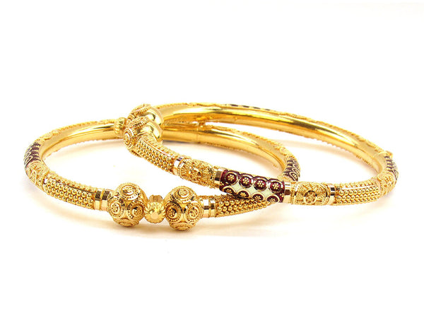 40.90g 22Kt Gold Pipe Bangle Set (Sz: 5)