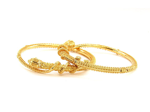 35.70g 22Kt Gold Pipe Bangle Set (Sz: 5)