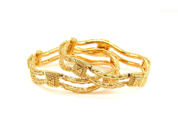 52.50g 22Kt Gold Pipe Bangle Set (Sz: 5)