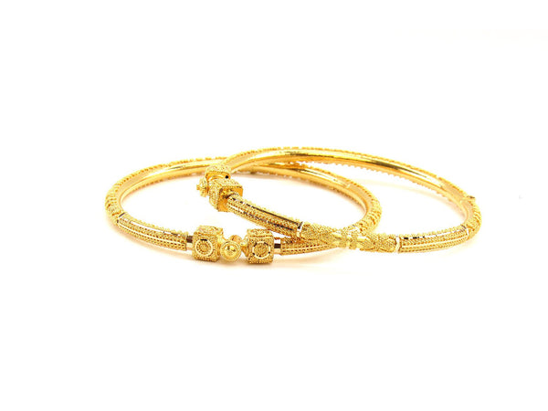 23.95g 22Kt Gold Pipe Bangle Set (Sz: 5)