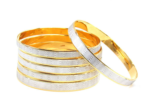97.50g 22Kt Gold Stackable Bangle Set (Sz: 4)
