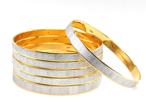 104.40g 22Kt Gold Stackable Bangle Set (Sz: 6)