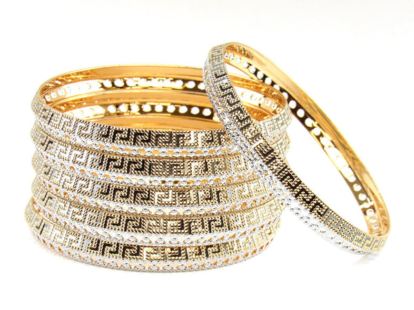 111.10g 22Kt Gold Stackable Bangle Set (Sz: 8)