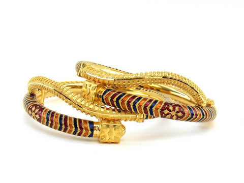 46.60g 22Kt Gold Pipe Bangle Set (Sz: 5)