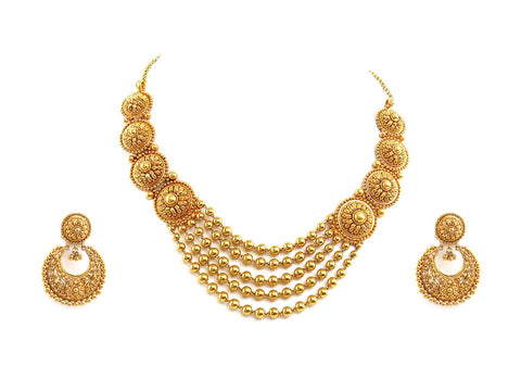 65.35g 22Kt Gold Antique Necklace Set
