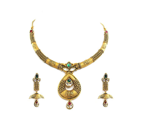 54.00g 22Kt Gold Antique Necklace Set