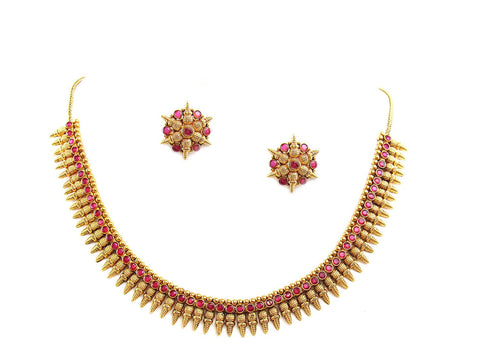 45.40g 22Kt Gold Antique Necklace Set