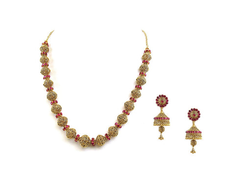 62.10g 22Kt Gold Antique Necklace Set