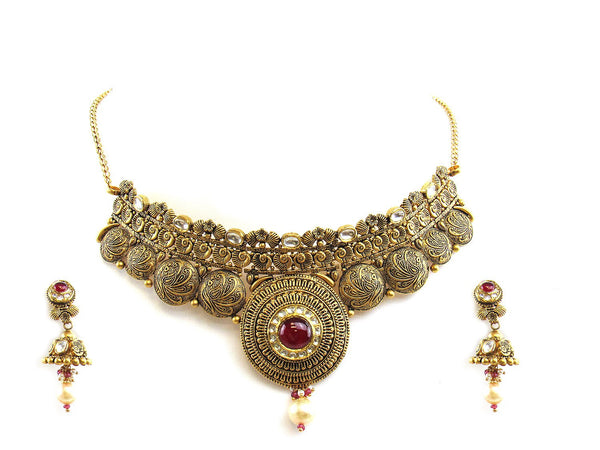 46.35g 22Kt Gold Antique Necklace Set