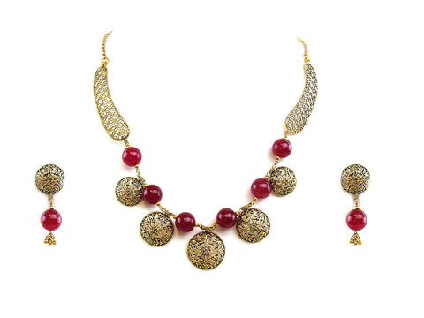 34.80g 22Kt Gold Antique Necklace Set