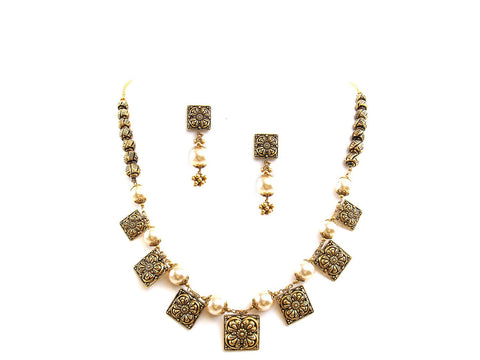42.40g 22Kt Gold Antique Necklace Set