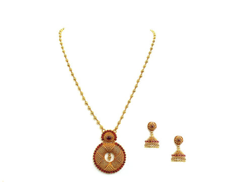 48.30g 22Kt Gold Antique Necklace Set