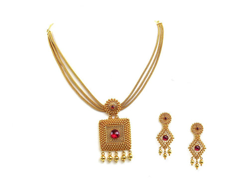 42.55g 22Kt Gold Antique Necklace Set