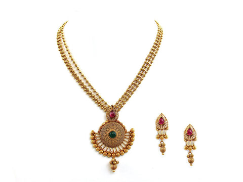 45.10g 22Kt Gold Antique Necklace Set