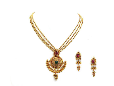 44.10g 22Kt Gold Antique Necklace Set
