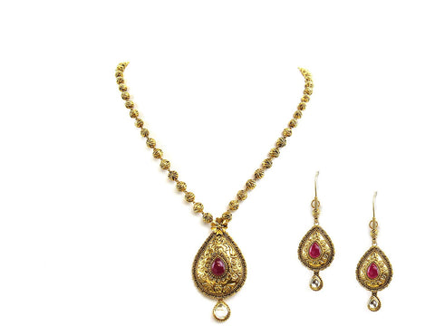 27.65g 22Kt Gold Antique Necklace Set