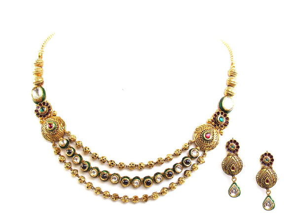 42.90g 22Kt Gold Antique Necklace Set