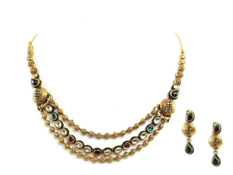 41.00g 22Kt Gold Antique Necklace Set