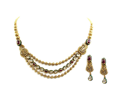 43.10g 22Kt Gold Antique Necklace Set