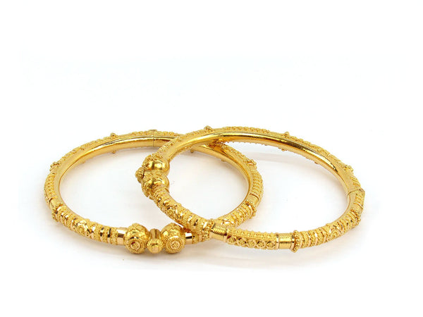 36.40g 22Kt Gold Pipe Bangle Set (Sz: 5)