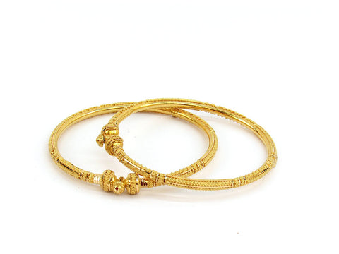 28.55g 22Kt Gold Pipe Bangle Set (Sz: 5)
