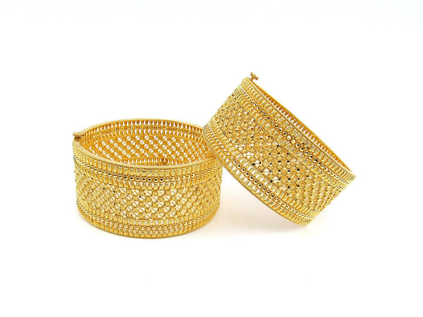 93.90g 22Kt Gold Yellow Bangle Set (Sz: 5)