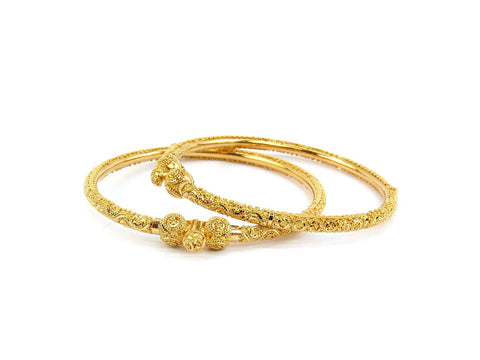 28.00g 22Kt Gold Pipe Bangle Set (Sz: )