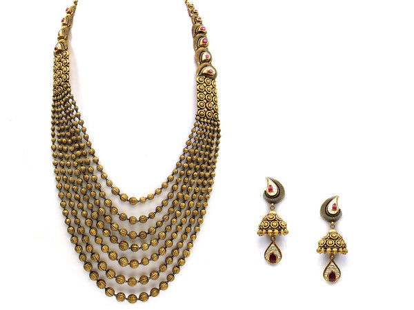 152.90g 22Kt Gold Antique Necklace Set - 1162