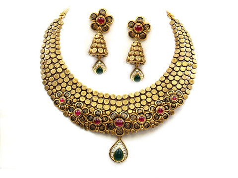 89.35g 22Kt Gold Antique Necklace Set India Jewellery