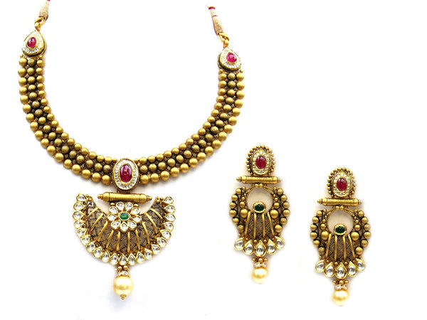 84.40g 22Kt Gold Antique Necklace Set - 1168