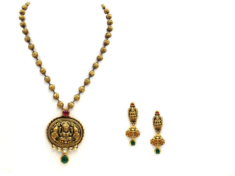 54.20g 22Kt Gold Antique Necklace Set India Jewellery