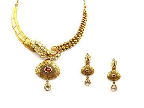62.58g 22Kt Gold Antique Necklace Set India Jewellery
