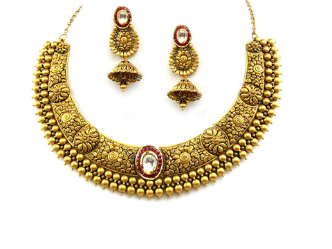 82.18g 22Kt Gold Antique Necklace Set India Jewellery