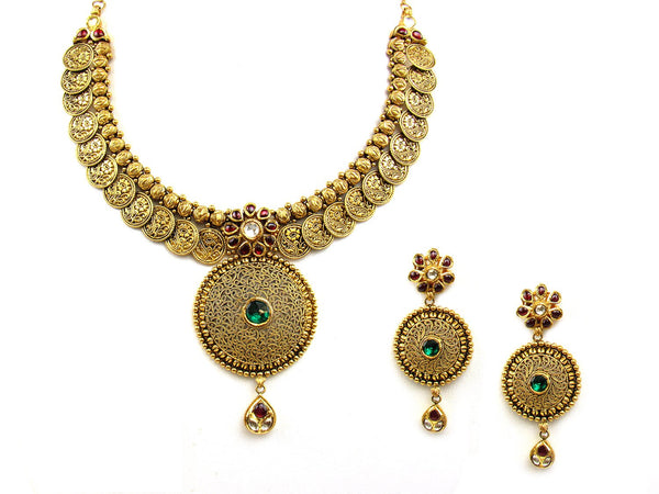 77.82g 22Kt Gold Antique Necklace Set - 1196