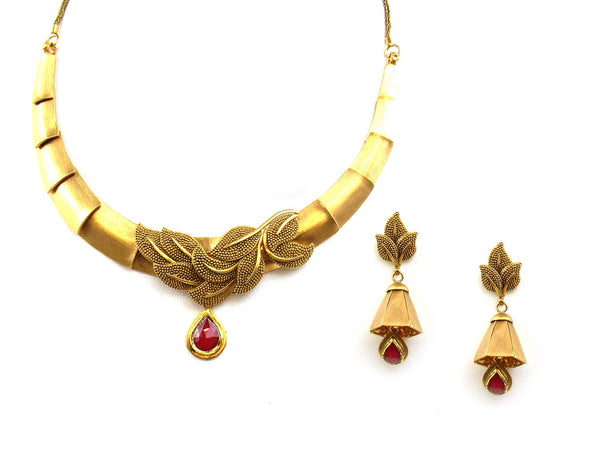 58.35g 22Kt Gold Antique Necklace Set - 1197