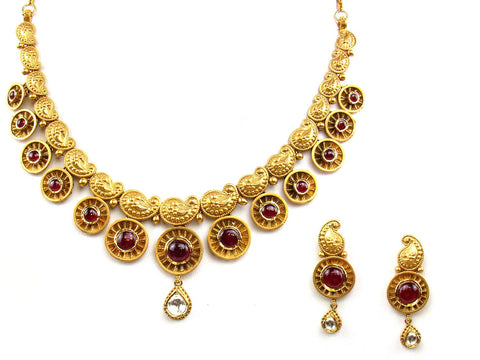 65.38g 22Kt Gold Antique Necklace Set India Jewellery