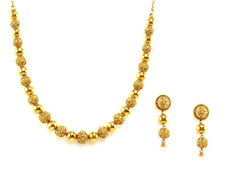 52.61g 22Kt Gold Antique Necklace Set India Jewellery
