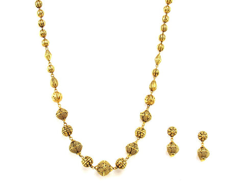 48.60g 22Kt Gold Antique Necklace Set India Jewellery