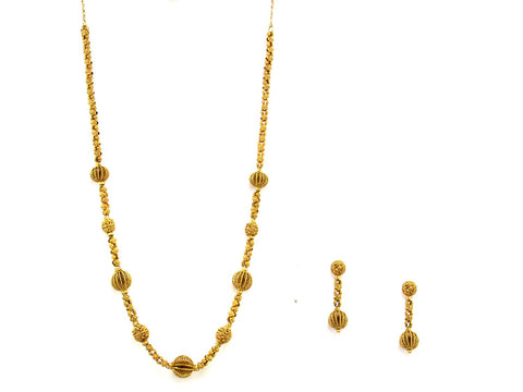 62.50g 22Kt Gold Antique Necklace Set India Jewellery