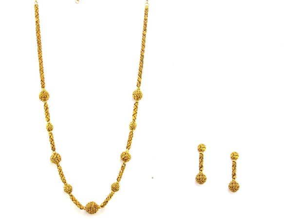 54.90g 22Kt Gold Antique Necklace Set - 1525