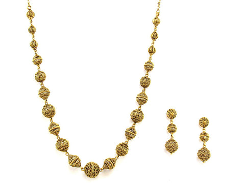 57.60g 22Kt Gold Antique Necklace Set India Jewellery
