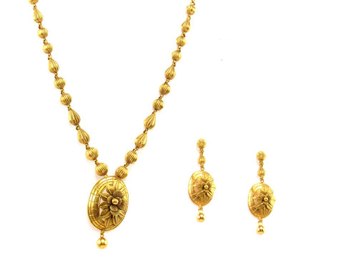 49.70g 22Kt Gold Antique Necklace Set India Jewellery