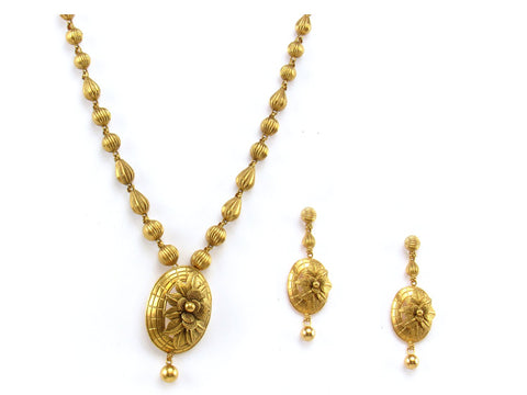 55.40g 22Kt Gold Antique Necklace Set India Jewellery
