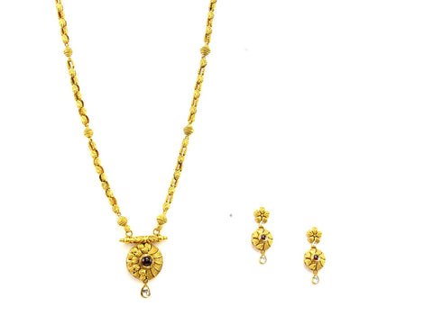 41.50g 22Kt Gold Antique Necklace Set India Jewellery