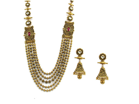 112.05g 22Kt Gold Antique Necklace Set India Jewellery