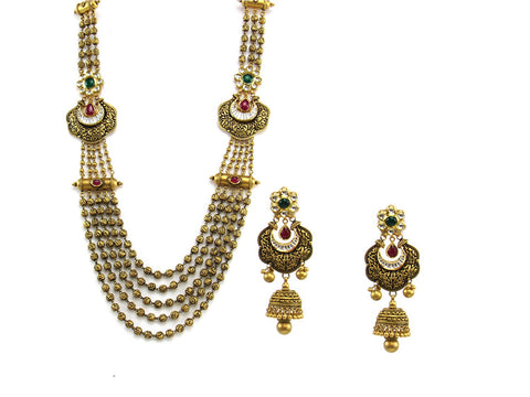 117.95g 22Kt Gold Antique Necklace Set India Jewellery