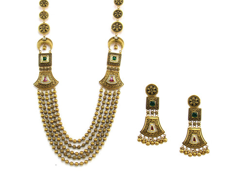 126.80g 22Kt Gold Antique Necklace Set India Jewellery