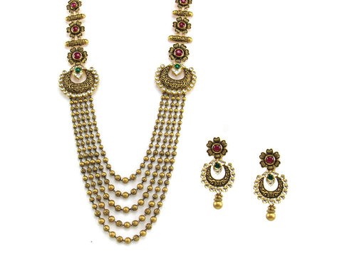139.05g 22Kt Gold Antique Necklace Set India Jewellery
